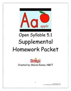 This homework packet was designed to support daily sytematic phonics lessons, offering opportunity for students to practice skills they are learning in class.  It focuses on the open syllable in single syllable words and includes instruction on when y plays the role of a vowel.