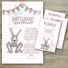 Baby Shower Book Instead of a Card Inserts with Bookplate Template, whimsical baby shower invitation, INSTANT Download
