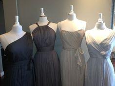 Amsale Bridesmaids Dresses, Charcoal, Graphite, Champagne & Dove
