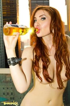 Girl nude with beer