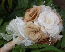Burlap Bridal Bouquet - Burlap Bridesmaid Bouquet - Handmade Bouquet - Elegant, Rustic, Country, Barn Wedding Decor