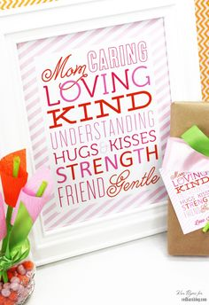 Mother's Day Craft with Free Printable Gift Tags & Subway Art