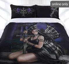 The Gallerie - Anne Stokes Lost Love Quilt Cover Set Anne Stokes, King Size Quilt Covers, Quilt Cover Sets, Fate Stay Night Rin, Flower Fairy Lights, Fantasy Queen, Gothic Furniture, Antique Furniture, Furniture Ideas