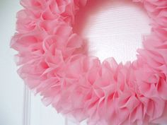 Pink Chiffon Ruffle Wreath Shabby Chic  perfect by BonitaBellita, $30.00