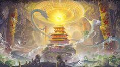 Fantasy dragon asian oriental art castle wallpaper | 1920x1080 | 28855 | WallpaperUP