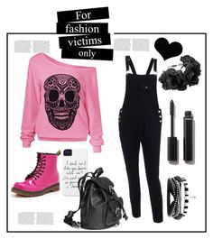 """Black and Pink"" by kawaiiyuri ❤ liked on Polyvore featuring Rock 'N Rose, Chanel and Dr. Martens"