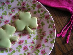 Shortbread shamrocks and my favorite plate and favorite scarf. : )