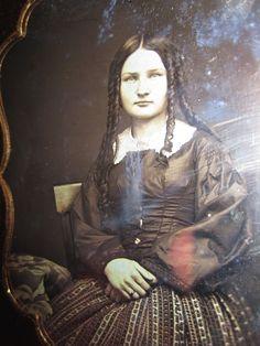 Antique American Beauty Daguerreotype Ribbon Hair Sisters Case Teen Girl Photo   eBay