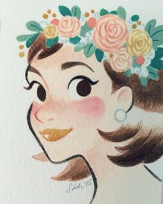 Lil painting for a holiday art exchange at work. Of course I had to include flowers #flowercrown #gouache #painting