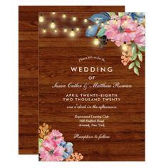 #wood - #Rustic Brown Wood Flowers and Lights Wedding Card