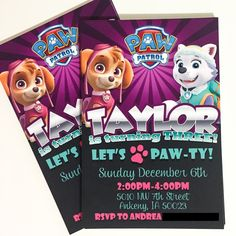 Girl Paw Patrol Invitation Paw Patrol by AGMPrintableDesigns