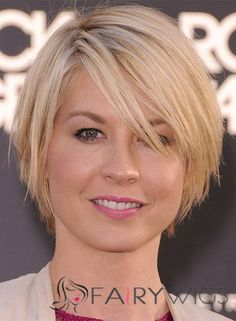 Jenna Elfman Short Straight Capless Human Hair Bob Wigs