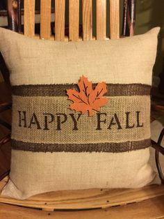 Happy Fall Burlap Decorative Pillow  Fall by ASouthernCharmDecor