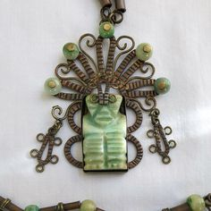 Vintage Green Dyed Mexican Onyx Ethnic Copper Aztec Mythical God Pendant Necklace by MyVintageJewels, $42.00
