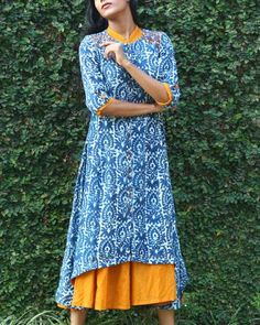Indigo Cotton Tunic With Yellow Long Dress