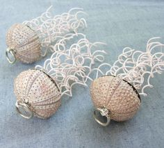 We clean the sea urchins, fill them with polyurethane foam and cover them with epoxy to make them strong and shiny. With white wire the jelly fishes are completed and will be swimming around your house or hanging on your christmas tree