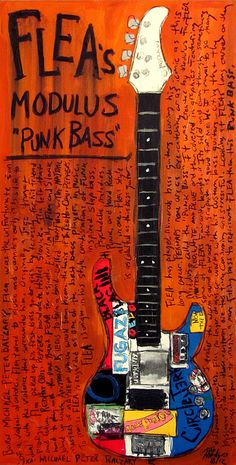 Flea Painting - Flea Modulus Punk Bass by Karl Haglund Guitar Posters, Guitar Quotes, Guitar Painting, Guitar Art, Manado, Famous Guitars, Rock Poster, John Frusciante, Bass Guitar Lessons