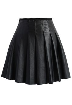 Box Pleats Faux Leather Skirt in Black