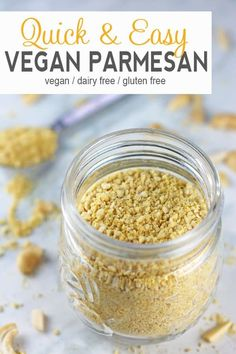 Making your own Vegan Parmesan Cheese is extremely easy and only requires 5 ingredients! It's a delicious dairy-free alternative to traditional parmesan. You'll want to throw this stuff on just about everything! Vegan Cheese Recipes, Vegan Parmesan Cheese, Vegan Sauces, Delicious Vegan Recipes, Vegetarian Recipes, Vegan Meals, Vegan Lunches, Pasta Recipes, Chicken Recipes