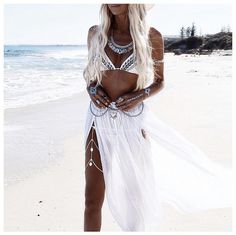 Could this be the perfect beach skirt?! Boho Maxi Skirt with thigh high splits by Piyama