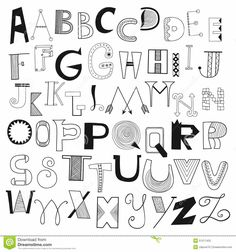 Hand drawn alphabet letters from A to Z. Set of doodle letters for design Cool Fonts Alphabet, Doodle Alphabet, Hand Lettering Alphabet, Graffiti Alphabet, Hand Drawn Lettering, Doodle Fonts, Doodle Lettering, Creative Lettering, Lettering Design