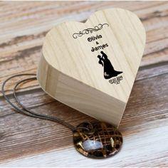 Personalised Wooden Heart Design Trinket Box - Bride and Groom
