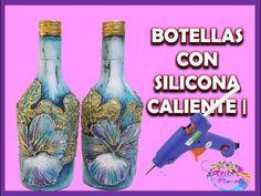 BOTELLA DE VIDRIO / decorada con silicona caliente 🧡🧡 - YouTube Bottle Art, Reuse, Diy And Crafts, Crafty, Glass, Videos, Youtube, Home Decor, Colourful Art