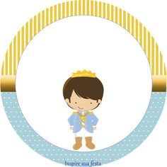 Tag ou topper para docinho ou cupcake Rei Azul e Dourado