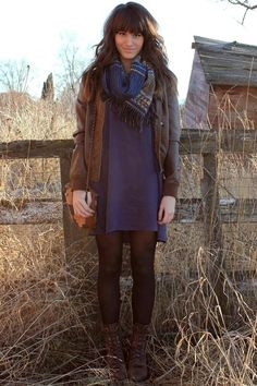 leather jacket, scarf, dress, tights + boots