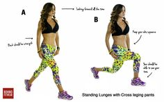 Lunges workout  This exercise involve all the major muscles of your lower body. They can also improve your balance, you can do them anywhere and the effects of this lunges workout can be seen in no time, in the form of shapely, toned legs and backside, here we are featuring our new  Cross Legging pant  that you can order in our store.  To access to the full workout description visit