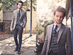 Jack London Herringbone Blazer, Topman Vest, Jack London Flannel Suit Trousers, Topman Oxford Shirt, Op Shop Wool Tie, Asos Navy Brogues