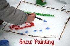 snow painting - happy hooligans & cbc kids - creating art in the snow Snow Activities, Painting Activities, Outdoor Activities For Kids, Creative Activities, Toddler Activities, Outdoor Learning, Outdoor Education, Motor Activities, Sensory Activities