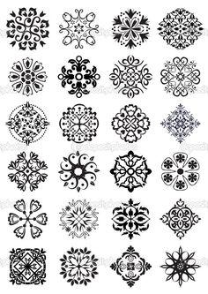 Циркуляр дамасской украшения — стоковая иллюстрация #25173393 Medieval Pattern, Damask Decor, Alchemy Symbols, Islamic Patterns, Mandala Tattoo Design, Wax Seal Stamp, Flower Doodles, Stencil Painting, Zentangle Patterns