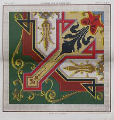 Pattern from 'Journal des desmoiselles' 1865-1869 Lith. La Vapeur de Dupuy.  Looks like Berlin Woolwork. Berlin, Cross Stitch Borders, Square Patterns, Paris, Loom Beading, Needlepoint, Embroidery Patterns, Journal, Bohemian Rug