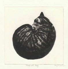 'Nap all day'. Drypoint Etching by Kay McDonagh.  Original prints available.
