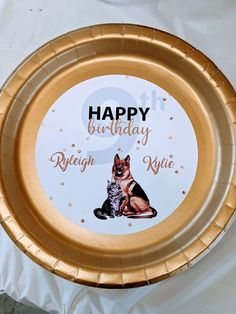 Cat and dog themed birthday plates are personalized just for you.
