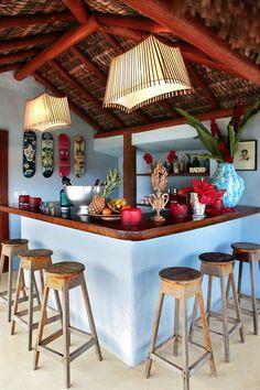 A tiki bar at the Trancoso, Brazil home of Cortney and Bob Novogratz - @The Novogratz.