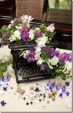 My cousin is having a Steampunk wedding. So I'm looking for ideas for them. This is a great idea. I actually have a typerwriter like this. Wedding Themes: Steampunk Wedding