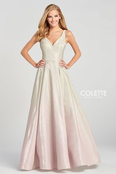 Colette for Mon Cheri CL12078. Sleeveless novelty glitter a-line gown with a v-neck, natural waist, cut out back and a horsehair hem.