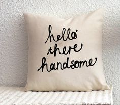 Hello There Handsome Cushion Cover 18 x 18 inch on Etsy, $29.00