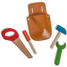 Little Builder Tool Set - Wooden Tool Pouch Set - Pretend Play Children's Toy Tool by Dress Up America * Visit the image link more details.