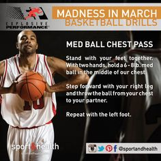 Celebrate the Madness in March with this basketball-inspired drill - the Medicine Ball Chest pass.  Grab a partner for this awesome cardio and upper body strength workout!