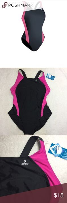 Kiefer One Piece bathing suit Swim black NWT new Kiefer Active Diva Power Back competitive swimwear  New with tags smoke free environment and no visible flaws size 14  Water polo beach pool swim kiefer Swim One Pieces
