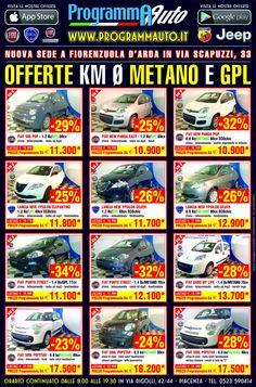 Ecco le nostre offerte Fiat e Lancia a METANO o GPL  Programma Auto Piacenza in via rigolli 44 o via emilia parmense 144