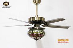 Makenier Vintage in vetro colorato stile Tiffany Lotus single-light paralume Kit luce ventilatore da soffitto, con lame di metallo: Amazon.it: Illuminazione