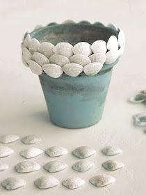shell covered pot Martha Stewart