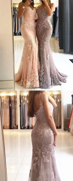 elegant peach lace mermaid prom dresses, spaghetti starps long formal evening dress for women