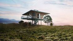Bali-based architect Alexis Dornier has developed a concept for prefabricated homes that could easily be taken apart and reassembled in a new location.Stilt Studios are small homes on stilts, which … 4 Bedroom House Designs, Tree House Designs, Bedroom House Plans, House Floor Plans, Modern Residential Architecture, Hotel Architecture, Sustainable Architecture, Prefabricated Houses, Prefab Homes