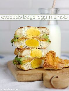 avocado bagel egg in