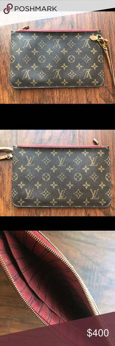 Louie Vuitton Wristlet Louie Vuitton never full wristlet, lining has a few pen marks but nothing major. Leather on strap has darken from normal use (typical for original LV products). Overall in decent condition. Louis Vuitton Bags Clutches & Wristlets